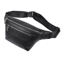 Hot selling good quality full grain leather sport bag black leather waist bag fanny pack for men