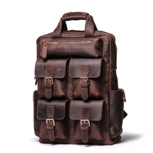 Wholesale price good quality large capacity crazy horse leather laptop bag leather backpack for men