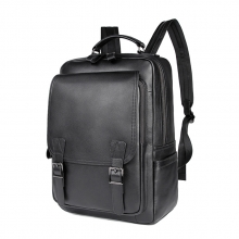 Custom fashion design high quality black cowhide leather school bag leather backpack for men