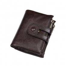 Factory price business gift brown leather rfid credit cards wallet fashion men wallet