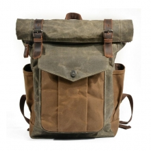 Factory price new arrivel vintage style waxy canvas bag outdoor backpack for men