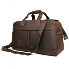 China factory low price large capacity vintage brown crazy horse leather travel bag duffle bag