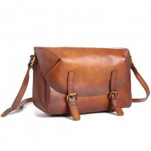 2018 Newest design good quality vintage brown leather shoulder bag leather messenger