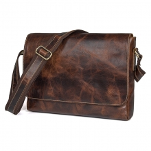 OEM design good quality leisure bag vintage brown leather messenger for men