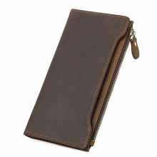 Wholesale price good quality birthday gift brown leather rfid wallet credit cards wallet