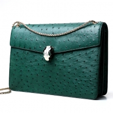 Famous brand design top quality real green ostrich skin leather sling bag for ladies