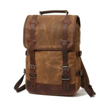 Amazon hot selling low price vintage style leather mix waxy canvas backpack outdoor backpack