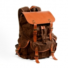 Hot selling low price retro design brown canvas leather school bag outdoor backpack for men