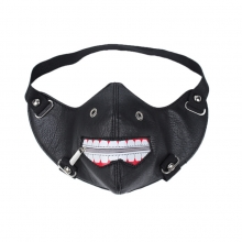 Factory price good quality PU leather punk mask dance mask motorcyle face mask