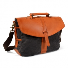 Amazon hot selling factory price waterproof waxy canvas leather messenger bag for men