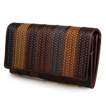 New design high quality brown leather fold wallet travel wallet for lady