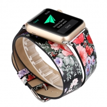 2018 spring style flowers printing 38mm 42mm leather strap for apple watch