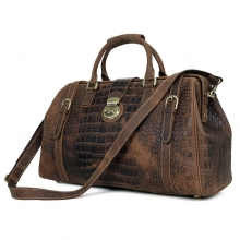 Good quality customized design retro brown crocodile grain leather doctor bag travel bag