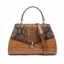 2019 Hot selling luxury design python pattern leather ladies handbag women purse