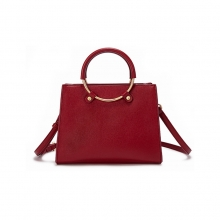 Cheap price good quality genuine leather women handbag red leather ladies purse