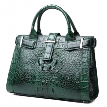 Hot selling brand design green alligator skin leather hand bag with CITES certificate