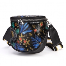 Amazon hot selling new arrivel beautiful flowers mini shoulder bag real leather women's purse