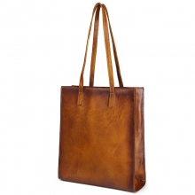 Hot selling OEM design vintage brown shoulder bag cow hide leather women tote bag