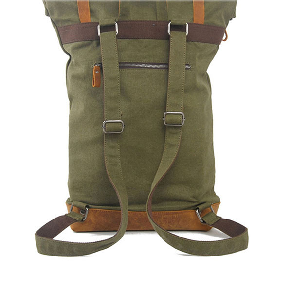 European vintage style waxed canvas and leather backpack satchel for men