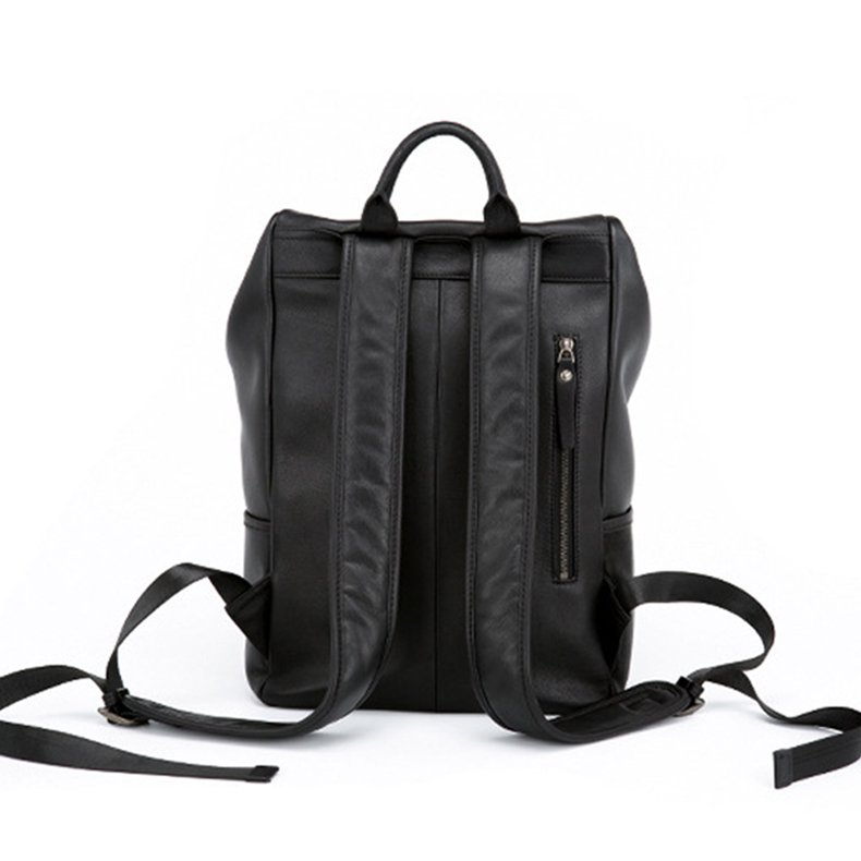 European design black leather backpack travel bag laptop bag backpack for men