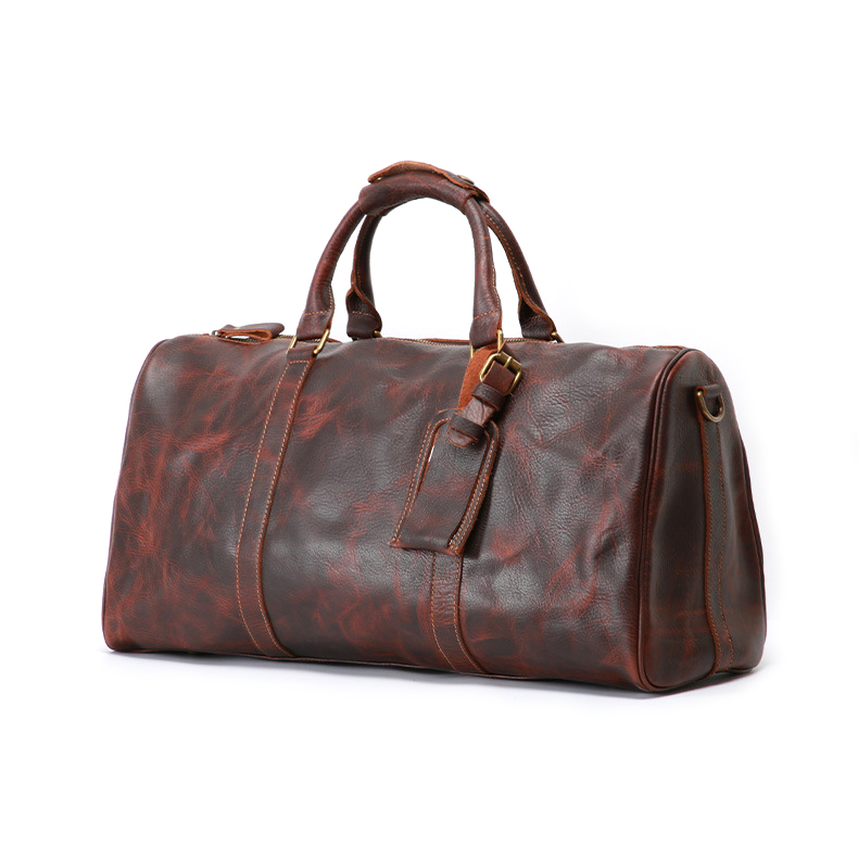 Custom design factory price real leather duffle bag genuine leather travel bag for men