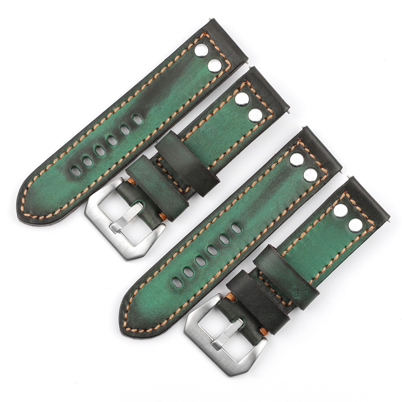 New arrival pilot watch strap green aviator leather watch straps 24mm leather watch bands