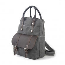 Good price high quality canvas genuine cow leather girls backpacks with handles