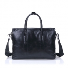 2016 high end italy black leather business travel bag for men