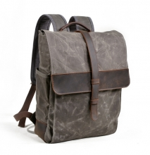 Handbag factory low price 16Oz grey waxy canvas student backpack bags for school