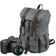 2018 new arrival good quality waxy canvas outdoor camera backpack waterproof camera bag