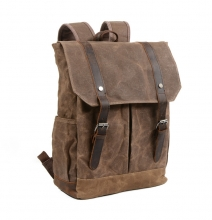 China manufacturer new collection retro waxy canvas school backpack student bag