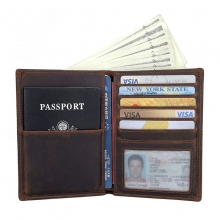 Wholesale price custom design crazy horse leather passport holder brown leather men wallet