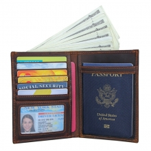 Good quality vintage brown leather passport holder RFID leather credit cards wallet for men women