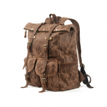 Hot selling good quality large size canvas rucksack outdoor canvas laptop backpack for school mens