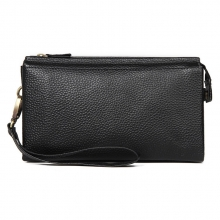 Manufacturer price high quality black genuine leather clutch bag leather cards wallet for men