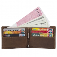 Amazon hot sale vintage brown leather rfid cards wallet leather money clip slim wallet for men