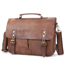 New arrival vintage style brown leather shoulder bag laptop bag leather briefcase for men