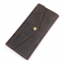 Wholesale price good quality brown crazy horse leather wallet cow leather credit cards wallet for men