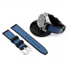 22mm New design silicone watch bands blue leather watch band black leather watch strap