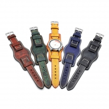 Wholesale price high quality 24mm real leather watch band leather watch straps for men