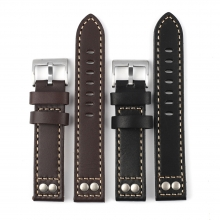 Factory price custom design 20mm leather watch bands black leather watch strap for IWC
