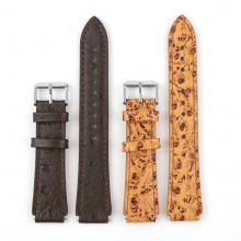 Cheap price high quality ostrich pattern leather watch straps real leather watch bands
