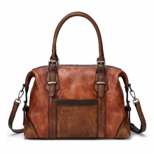 Customized design good quality vintage brown leather women handbag leather ladies purse