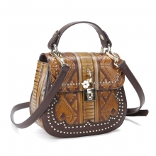 Low price good quality vintage brown leather handbag cow leather leisure bag for women