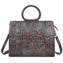 China factory OEM design good quality vintage real leather purse leather tote bag for women